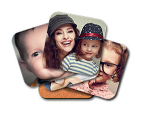 Set of six coasters with multiple images